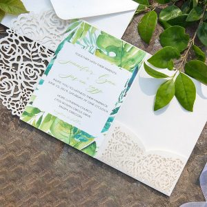 Lace Rose Flower Print Pocket Invitations Cards