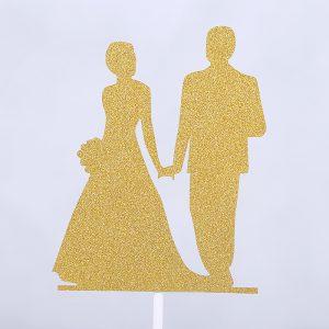 Glitter Love Heart Wedding Cake Topper