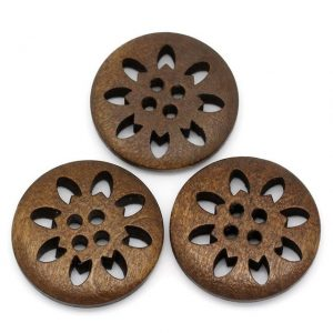 5Pcs 4Holes Wood Buttons